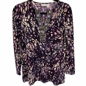Chico's Purple Print Tunic Top Size 1 Long Sleeves